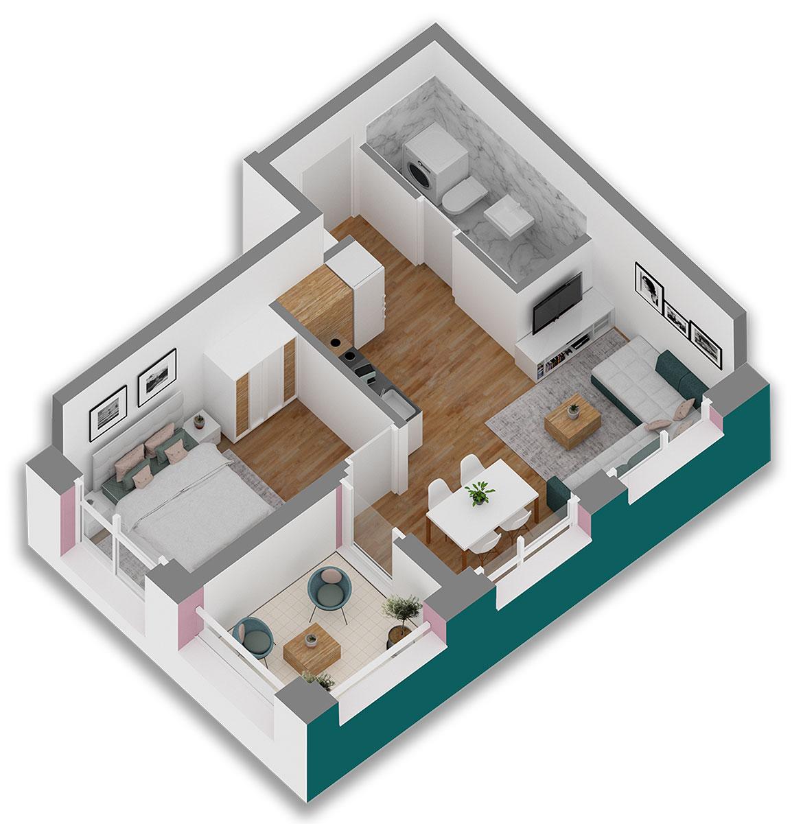 Apartament 1+1 ne kommpleksin Mangalem 21 ne Ali Dem