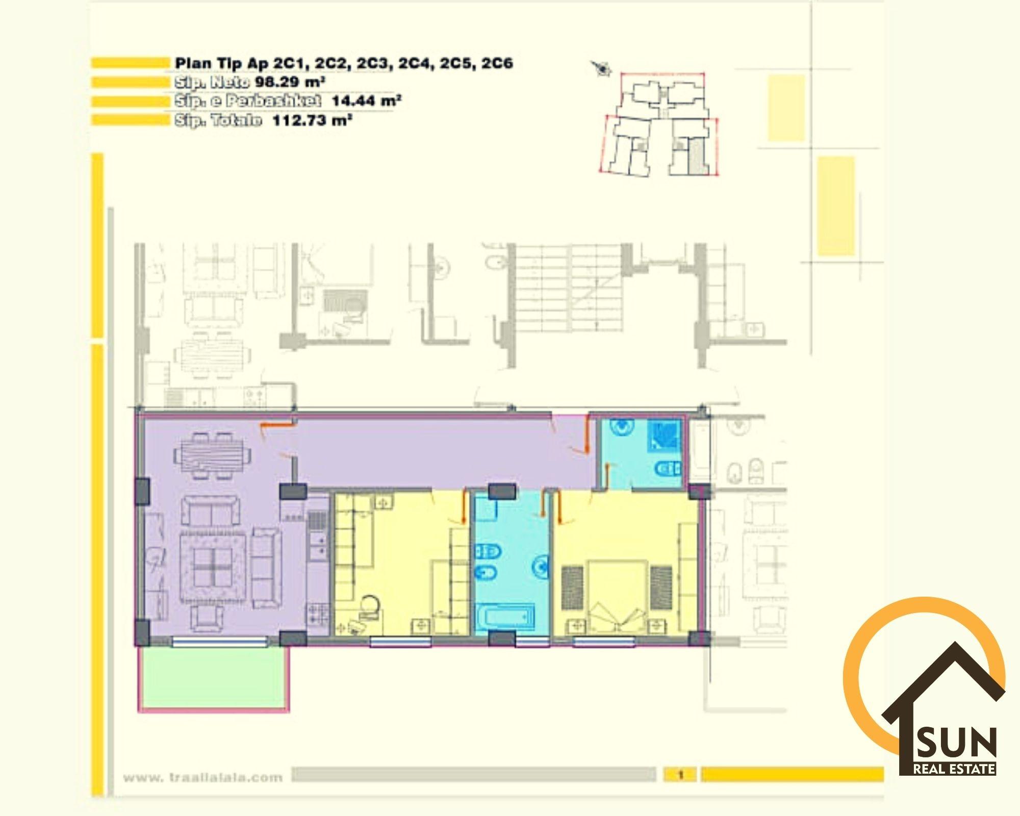 Apartamente 2+1 per shitje mbas Teatrit ''Migjeni''